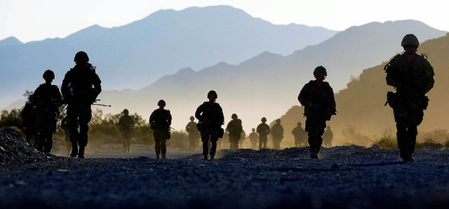 Royal Marine reservists exercise in California.
