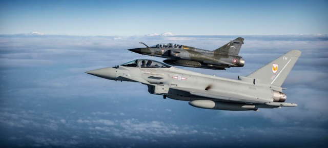RAF Typhoon and French Mirage Flying together